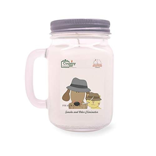 Country Jar Smoke and Odor Eliminator Candle (Handled-Mason) 100% US Grown Soy Wax / 100 Burn Hours :::: March Sale!