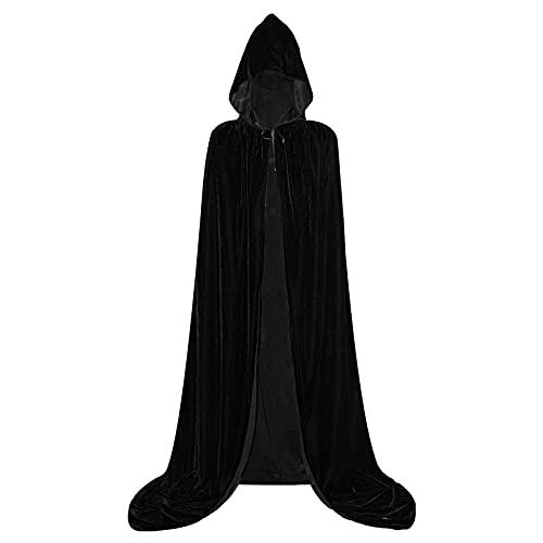 Cape à Capuche Velours Adulte Unisexe Halloween Cosplay Costume,Déguisement Vampire Fantaisie Médiéval Païen Robe De Sorcière(Noir,M)