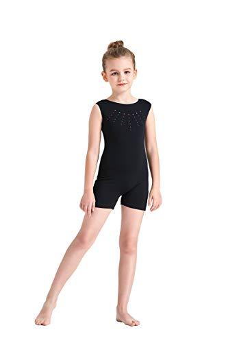 Kql Leotards Rainbow Gymnastics Shiny Tank Unitards Shortall Girl Kids Dancewear Biketards 3-12Y, Black, Tag 10 For 8-9Y