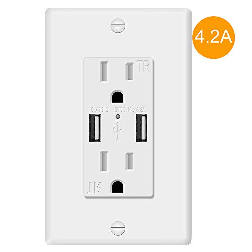 AA-Smart UL498 Standard 5V 4.2A Fast Charging Duplex USB Outlet with LED Indicator, Child Protected Tamper Resistant 15Amp Duplex Receptacle USB Wall Outlet with Overcurrent Protection (1 pcs)
