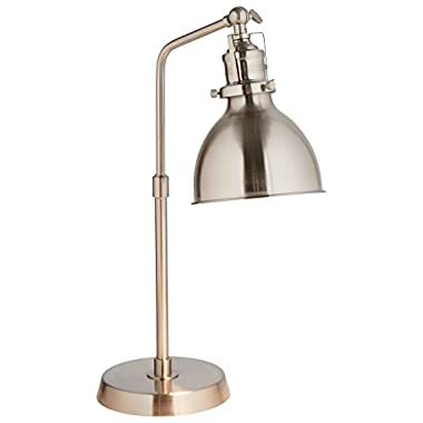 Rivet Pike Factory Industrial Table Lamp, 18 H, with Bulb, Brushed Steel