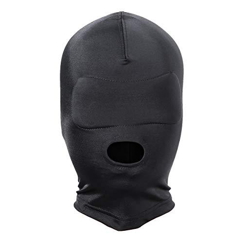 OULII OULII Elástico Negro Transpirable Boca Abierta Cubierta de la cara Máscara de los ojos vendados Cosplay Capucha Unisex Headgear Tamaño M