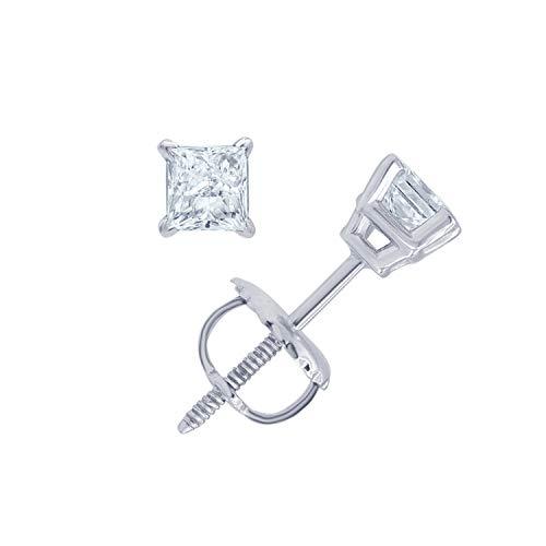 14KT White Gold Princess Diamond Accent Earrings (Diamond Quality IJ-I3) By La4ve Diamond Stud Earrings For Women Gift Box Included