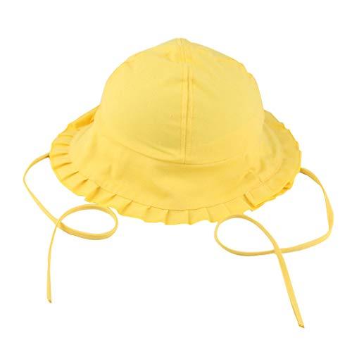 YWLINK Kleinkind Baby MäDchen Fischerhut Jungen Candy Solid Sonnenhut BäNder Bucket Cap Atmungsaktiv Hut(Gelb,50-54cm)
