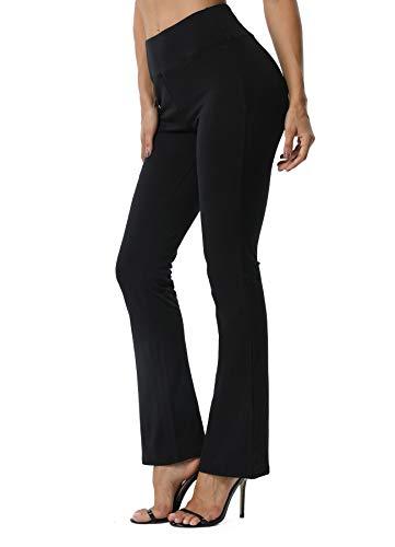 FITTOO Damen Bootcut Yogahosen Straight-Bein-Jogginghose Ausgestelltem Bein Yoga Hose Schwarz S