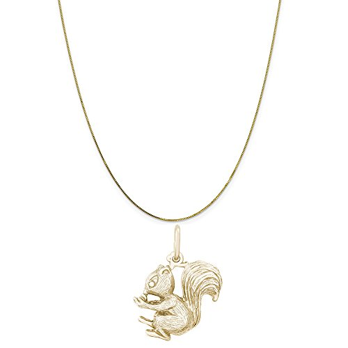 Rembrandt Charms 10K Yellow Gold Squirrel Charm on a 10K Yellow Gold Box Chain Necklace, 18