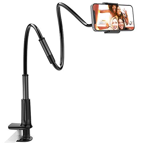 licheers Schwanenhals Handy Halterung, 360° Drehen Bett Handy Halter 110cm Universal Ständer für iPhone Samsung Huawei Smartphone und mehr (Schwarz)