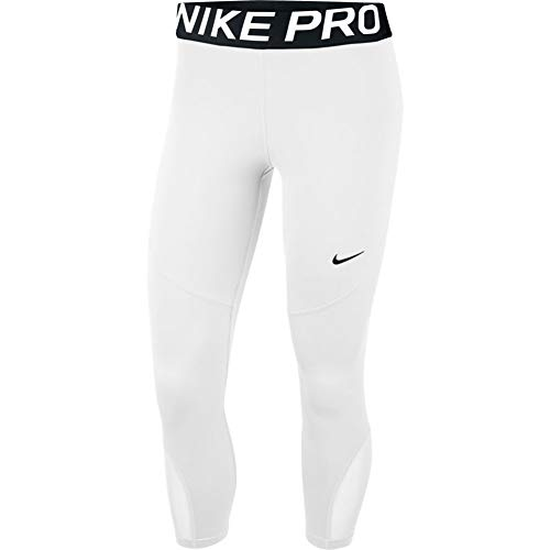 Nike Women's Pro 365 Crop Tight (White/Black, Medium)