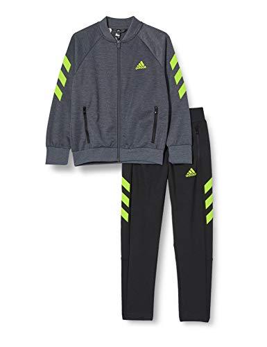 adidas B XFG TS Tracksuit, Niños, Top:Dark Grey Heather/Semi Solar Slime Bottom:Black/Semi...