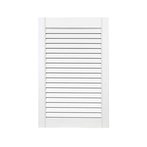 1-er Pack/Ein Stück Lamellentüren weiß seidenmatt mit offenen Lamellen Kiefernholz 615 x 394 x 21 mm für Regale, Schränke, Möbel - EINBAUFERTIG grundiert