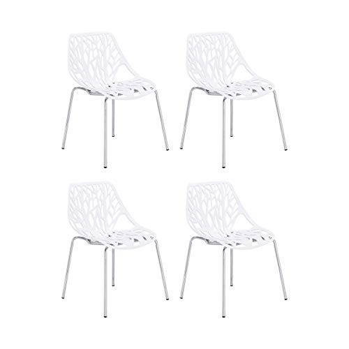 CangLong Set of 4 Modern Mid Century Plastic Shell Hollow Out Chair with Matal Legs for Living,...