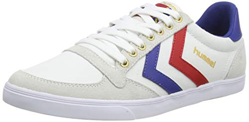 hummel Unisex-Erwachsene Slimmer Stadil Low Sneaker, Weiß (White/Blue/Red/Gum), 44 EU (9.5 UK)