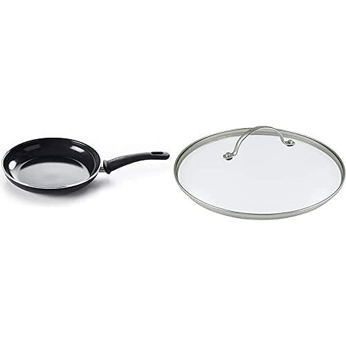GreenChef Sartén Antiadherente de Aluminio Forjado con Revestimiento de Cerámica, Apta para Todo Tipo de Cocinas, 28 cm, Negra + Tapa Universal de Vidrio Templado, 28 cm, Cristal