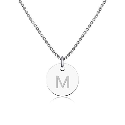 GOOD.designs ® Collar Inicial para mujeres (Colgante Inicial) Cadena de Mujer de plata (Colgante de letras redondas) (M)