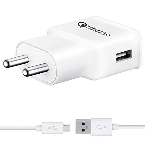 Siwi Fast Quick Charger for Zen Cinemax Force, Admire Fab Q Plus, Cinemax Click, Admire Snap Charger Original Like Adapter | Qualcomm Quick Charge 3.0 | Adaptive Fast Charger | Android Mobile USB Charger With 1 Meter Micro USB Charging Data Cable (FC2, White)