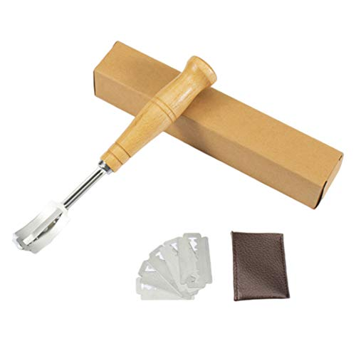 Baker of Seville Bread Lame - Dough Scoring Knife with 10 Razor Blades and Leather Storage Cover - Built for professional and serious bakers. (YELLOW)