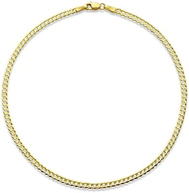 LoveBling 10k Yellow Gold 2.5mm Solid Curb Cuban Link Chain Anklet with Lobster Lock (10