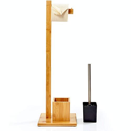 bambuswald© ökologische WC-Garnitur aus Bambus mit integriertem Toilettenpapierhalter und WC-Bürstenhalter frei-stehend | ca. 73,5x23x19,5cm | Klopapierhalter Toilletenbürste Klobürsten Halter