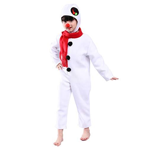 NUOBESTY Traje de muñeco de Nieve de Navidad para niños Mono de Navidad con Bufanda Traje de Sombreros de Nariz roja (120 cm)
