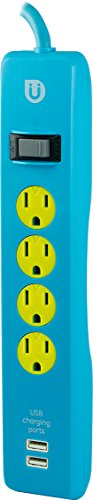 Uber 4 Outlet Power Strip, 2 USB Ports, 4ft Cord, Safety Covers, Blue/Yellow, 25117