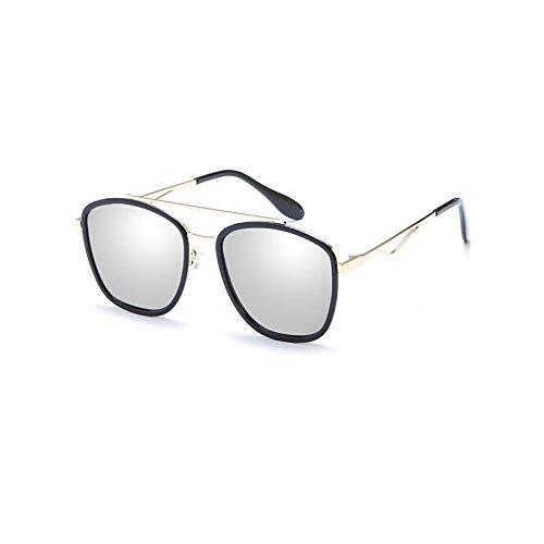 LLZTYJ zonnebril, wind, parasol, strand, outdoor, verjaardag, cadeau, Valentijnsdag, dames, zonnebril, zonnebril, ronde bril, doosje, zwart/wit (box + stof)