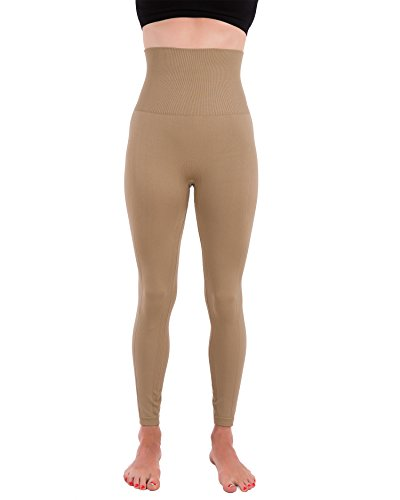 Homma Activewear Thick High Waist Tummy Compression Slimming Body Leggings Pant (Large, Mocha)