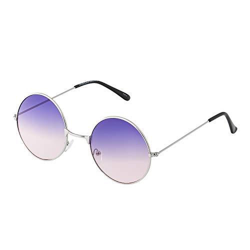UltraByEasyPeasyStore Erwachsene John Lennon Stile Retro Rund Sonnenbrille Männer Frauen UV400 Brillen (Lila bis Rosa)