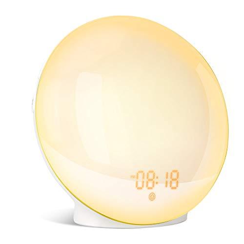 Wake-up Light,Lampada da Comodino Radiosveglia Controllo Vocale Smart Sveglie Simulazione dell'alba e del Tramonto 7 Colori, 7 Suoni di Allarme, Compatibile con Alexa Echo e Google Home APP WIFI