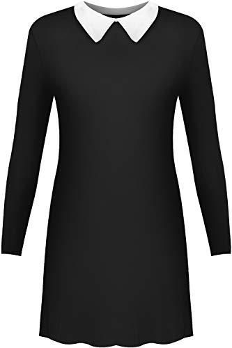 WearAll - Plain Kragen Kurz Stretch Langarm Ausgestelltes Ladies Swing-Kleid - Schwarz - 36-38
