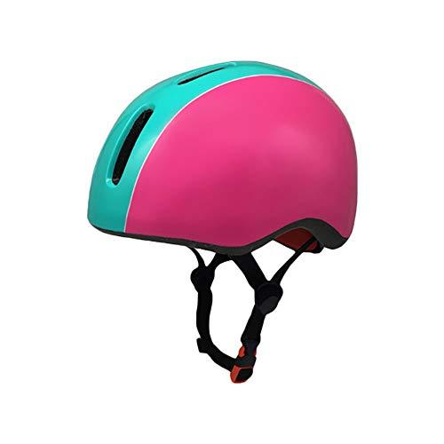 U/De una Sola Pieza Adolescente ABS Casco de equitación Protector de Las Muchachas del Muchacho Equipo de Seguridad en monopatín (Color : Pink Blue)