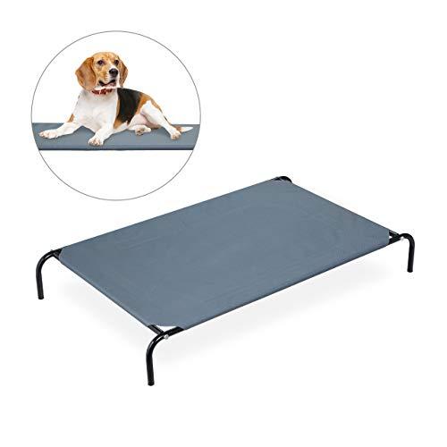 Relaxdays Hundefeldbett, für große Hunde, Garten Sonnenliege, Outdoor Hundebett mit Metallgestell, BxT 105 x 63 cm, grau, L