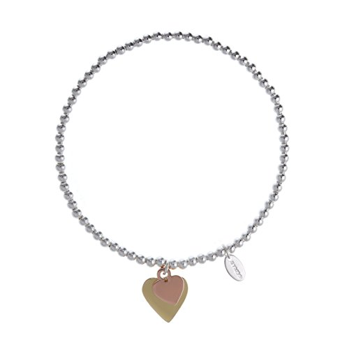SYMBOLOGY Silver Sentiment Sister Bracelet with Double Love Heart Symbol Charm. Silver Lining Collection, for Your Sister (Gift Boxed) 812