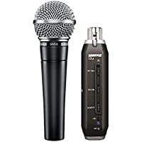 Shure SM58 Cardioid Dynamic Vocal Microphone with X2u XLR-to-USB Signal Adapter for Zero-Latency Monitoring (Real-Time Playback), 3m USB Cable, A25D Mic Clip and Two Storage Bags (SM58-X2U)