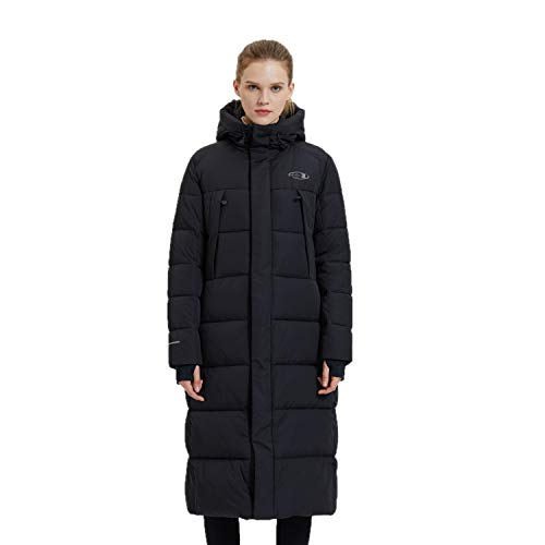 TIGER FORCE Winter Active Coat Long Puffy Jacket for Women Hoodie Thickened Padded Outerwear Snowjacket Extremely Cold