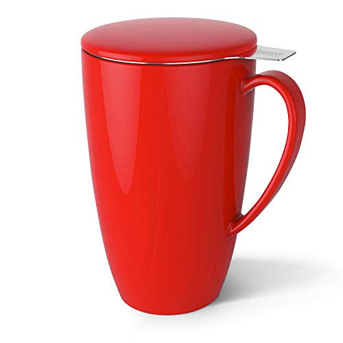 Sweese 201.104 Porcelain Tea Mug with Infuser and Lid, 15 OZ, Red