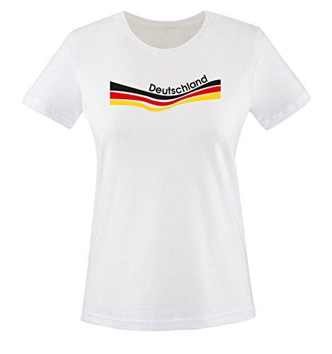 Comedy Shirts - EM 2016 - Deutschland - Flagge geschwungen - Damen T-Shirt - Weiss/Schwarz Gr. XXL