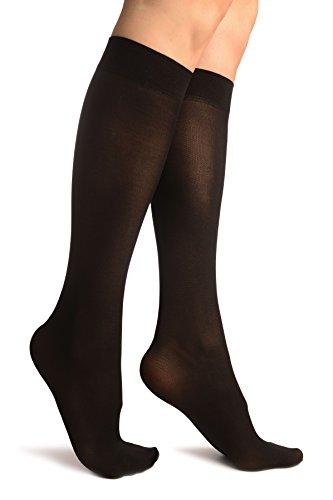 LissKiss Black Plain Socks Knee High - Schwarz Socken, Einheitsgroesse (37-42)