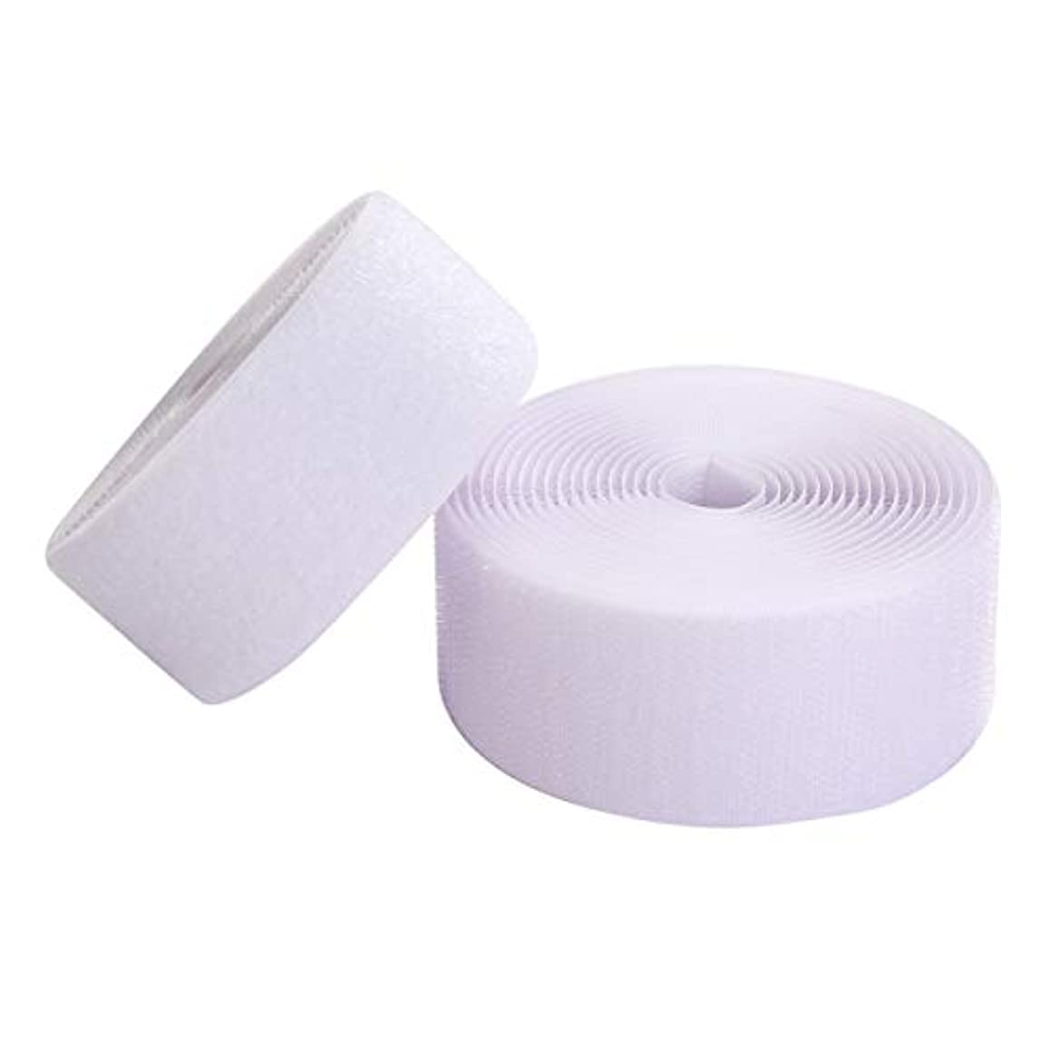 Sew on Hook and Loop Style 2 Inch Non-Adhesive Back Nylon Strips Fabric Fastener Non-Adhesive Interlocking Tape White,5 Yard