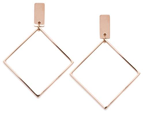 Happiness Boutique Damen Viereck Ohrringe in Rosegold | Geometrische Ohrhänger Quadrat und Stab Edelstahlschmuck