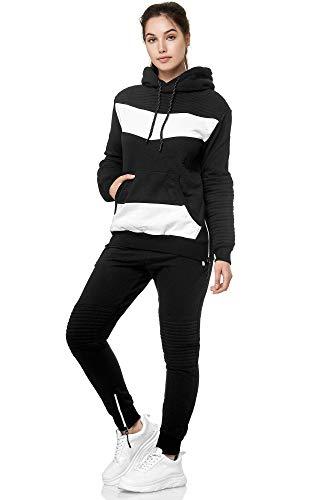 Violento Damen Jogging-Anzug | Leder Anzug 610 (S-fällt groß aus, Schwarz)