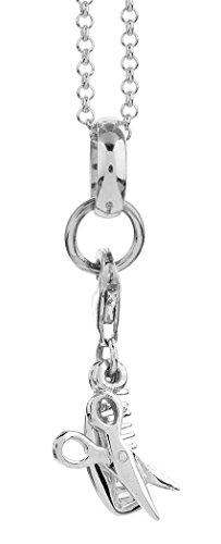 Nenalina Damen Charms Halskette mit Kamm und Schere Anhänger, handgearbeitet in 925 Sterling Silber, CS-057