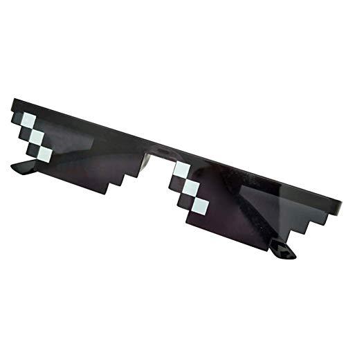 MonLook Herren Damen MLG Verpixelte Sonnenbrille Thug Life Party Brille Mosaik Vintage Eye Wear - Schwarz, small Single