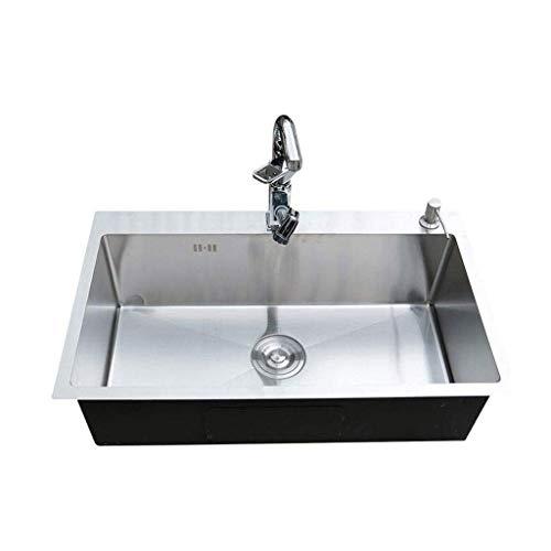 ZSQAW Waschbecken, Einbauschränke Unterbau-Edelstahl-Küche-einzelne Schüssel Spüle Edelstahl 450 * 400 * 220mm.