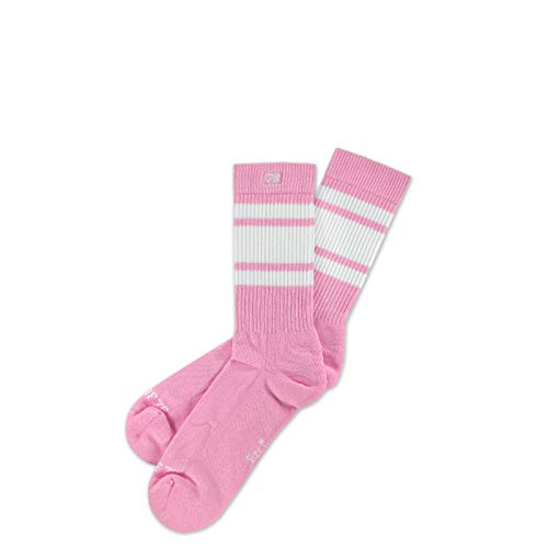 Spirit of 76 Bubblegum Lo | Pinke Retro Skater Socken mit Streifen | Pinke Strümpfe, Weiß gestreift | knöchelhoch | stylische Unisex Tennissocken (S (35-38))