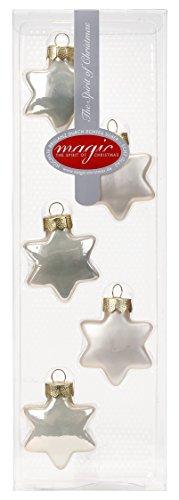 MAGIC 5 STK. Sterne Glas 4cm Christbaumschmuck Weihnachtsschmuck Baumschmuck Set Christbaumkugeln, Farbe: Champagner Glanz/matt