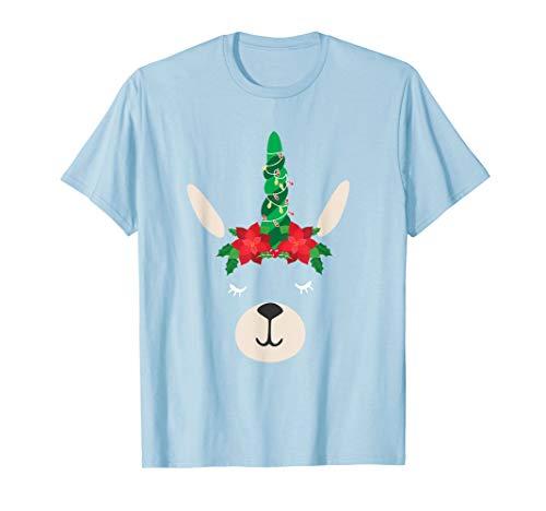 Llama Christmas Tree And Lights Poinsettia T-Shirt