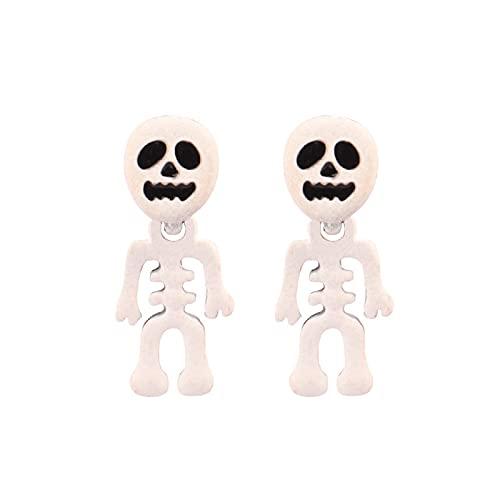 Pendientes De Forma De Calavera Pendientes De Esqueleto Pintados Divertidos Pendientes Pequeños De Goteo Negro Joyería