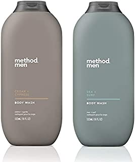 Method Men's Body Wash - Cedar + Cypress & Sea + Surf - Set of 2 (Each 18 fl oz 532 ml)