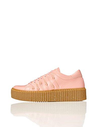 find. Plateau Schuhe Damen mit gerippter Plateausohle, Riemchendetails und Sneaker-Design, Pink, 40 EU