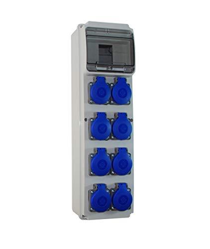 Baustromverteiler/Wandverteiler 8 x 230V/16A Schuko verdrahtet